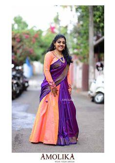 Lehenga Style Saree, Lehenga Skirt, Saree Dress, Saree Blouse, Silk Sarees, Saree Draping Styles, Saree Styles, Half Saree Designs, Blouse Designs