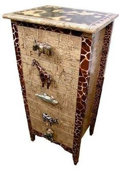 Animal handles....Decopatched drawers.  http://www.countryloveceramics.com/decoupage-decopatch-napkin-art/