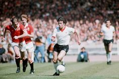 Liverpool's Kevin Keegan on the ball at the 1977 FA Cup Final at Wembley