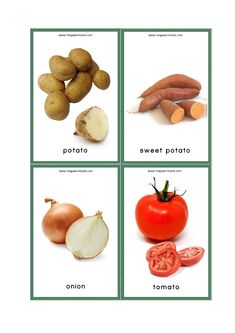 Vegetables Flash Cards - Potato, Sweet Potato, Onion, Tomato The Effective Pictures We Offer You About coloring for tod Food Flashcards, Flashcards For Toddlers, Sight Word Flashcards, Printable Flashcards, Vegetables Names With Pictures, Vegetable Pictures, Food Pictures, Tomato Vegetable, Vegetable Recipes