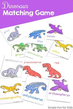 Dinosaur Matching Game for Toddlers Does your toddler love matching and sorting? Play this fun and simple printable Dinosaur Matching Game for Toddlers that's perfect for learning colors, dinosaur names, correspondence, visual discrimination, and more! Toddler Color Learning, Toddler Learning Activities, Learning Colors, Cognitive Activities, Dinosaurs Preschool, Dinosaur Activities, Dinosaur Crafts, Dinosaurs For Toddlers, Dinosaur Alphabet