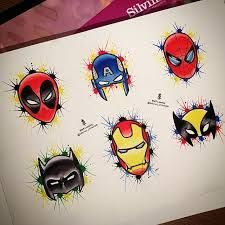 Image result for deadpool, spiderman and batman tattoo