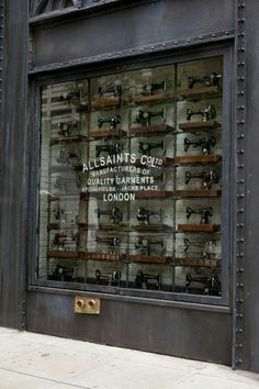 All saints shop window via my favourite shop window display of all time! Timeless and unique. Well done All Saints! Interior Design Chicago, Industrial Interior Design, Industrial Chic, Visual Merchandising, All Saints Shop, Vitrine Design, Antique Sewing Machines, Shop Fronts, Shop Window Displays