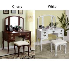 Style and function combine in the Doris solid wood vanity table and stool set. This unique set features plenty of storage and comes in painted white or natural cherry tones.  The upholstered seat tucks neatly under the table to conserve space.