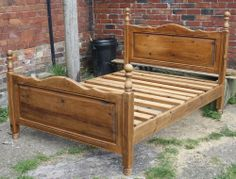Vintage large double bed pine