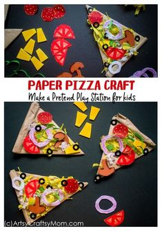 Set up your play food counter with a kiddie favorite - pizza, and make it super realistic with this incredibly detailed Paper Pizza Craft for Kids! Crafts for kids Pretend Play Food - Paper Pizza Craft for Kids Fun Craft, Fun Arts And Crafts, Craft Projects For Kids, Activities For Kids, Craft Ideas, Creative Activities, Diy Projects, Creative Ideas, Paper Bag Crafts