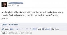 Her boyfriend doesn't seem to like Linkin Park