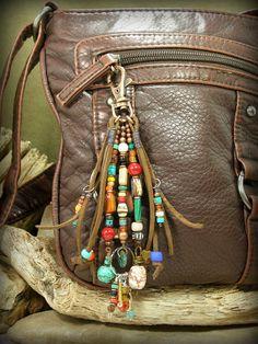 Beaded Zipper Pull, Southwest Tribal PurseTassel by StoneWearDesigns