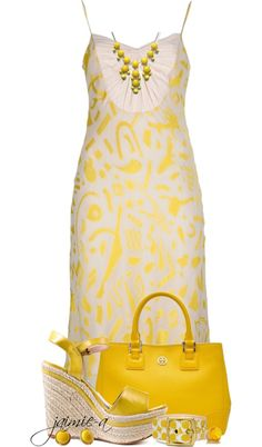 """""""Yellow & White Summer Dress"""" by jaimie-a on Polyvore"""