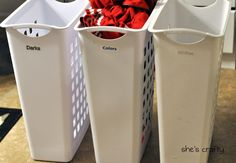 Laundry system-organize, wash when full. so simple but so smart. I am going to start doing this.