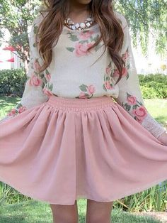 Long sleeve flowered top with pink skater skirt
