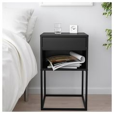 VIKHAMMER Nightstand - black - IKEA Find affordable home furnishings and furniture, all in one store. Shop quality home furniture, décor, furnishings, and accessories. Home Bedroom, Bedroom Furniture, Home Furniture, Bedroom Table, Bedroom Sets, Ikea Bedroom, Master Bedroom, Furniture Design, Furniture Stores