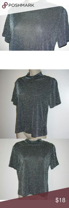 "Lauren Lee shimmer knit top silver gray. Up Size small with a lot of stretch Bust is 40"" Delicate jersey with fine shimmer, acetate and lurex laura lee Tops Blouses"