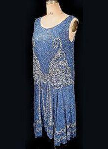 1926 blue beaded dress - Courtesy of antiquedress.com