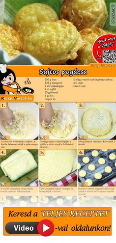 Käse-Pogatschen A delicious cheese dough makes these little rolls especially tasty! No Salt Recipes, Fun Easy Recipes, Cheese Recipes, Baking Recipes, Easy Meals, Healthy Recipes, Yummy Food, Tasty, Hungarian Recipes