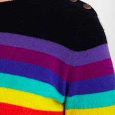 Rainbow Breton.  The Seventies continue their fashion assault on fashion this AW15, so how better than to keep it chic with this 100% cashmere rainbow sweater. £160 #cashmere #sweater #unique #rainbow #gifts #her #ideas #gift