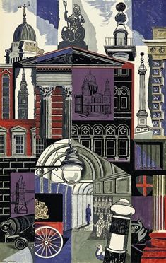 'The City' by Edward Bawden for a poster for the London Underground, 1952 (lithograph) London Underground, Underground Tube, Illustrations, Illustration Art, London Illustration, A Level Art, London Art, London Poster, Vintage Travel Posters
