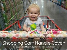 Cover those icky shopping carts with a cute Shopping Cart Handle Cover! This tutorial is so easy, takes little fabric, and includes loops for toys!