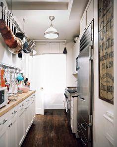 note the hanging pots, pans, & utensils @Jeff Nehe @Sarah Wheelock