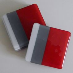 FUSED GLASS COASTERS - Handmade, Contemporary Set of 4 - Red, Grey, and White by AjMcKeeFusedGlass on Etsy