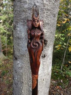 Hand Carved wood HECATE STAFF Pagan Goddess by Paul Borda, Dryad Design