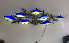 Beautiful Bluefin Tuna Wall Mount by Michael Hopko 2016  #bluefintuna #hopkoartglass #sculpture #homedecor #glassart #interiordesign