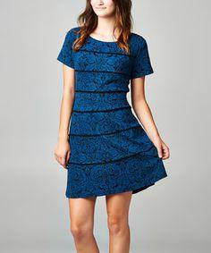 Another great find on #zulily! Navy Brocade Stripe Dress - Women by SL Fashions #zulilyfinds