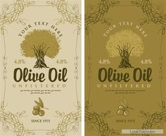 Retro style olive oil label on grunged background with two near color options.