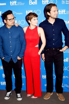 Just let me brush your hair //Michael Pena, Kate Mara and Sebastian Stan attend the 'The Martian' press conference at the 2015 Toronto International Film Festival at TIFF Bell Lightbox on September 11, 2015 in Toronto, Canada. (Photo by Jason Merritt/Getty Images)