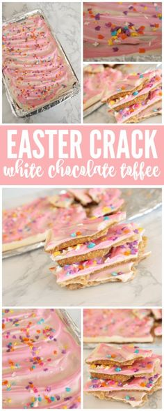 Use gluten free table crackers! I am loving this DELICIOUS Easter Crack White Chocolate Toffee Recipe and I wanted to share it with y'all today! This white chocolate toffee is amazing and the whole family will love them! Mini Desserts, Holiday Desserts, Holiday Baking, Holiday Treats, Holiday Recipes, Desserts Keto, Candy Recipes, Baking Recipes, Dessert Recipes