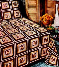 Modern Block Crocheted Bedspread - Free Crochet Pattern - (freevintagecrochet)