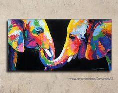 Pintura de colorido elefante, los 70x140cm