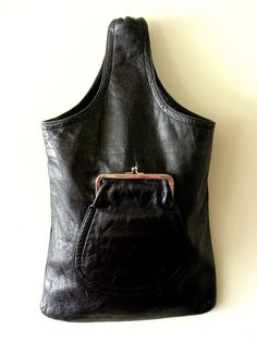 BONNIE CASHIN Black Leather Cashin Carry Flat Kisslock Bag RARE Sills & Co Plaid