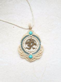 Charm- & Bettelketten - macrame makramee kette om charm lotus bronze goa - ein Designerstück von JustbeA bei DaWanda