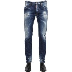 Dsquared2 Men 16.5cm Cool Guy Destroyed Denim Jeans (590 CAD) ❤ liked on Polyvore featuring men's fashion, men's clothing, men's jeans, pants, blue, mens blue jeans, mens torn jeans, mens jeans, mens distressed jeans and mens ripped jeans