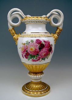 "Meissen Porcelain Manufactory (Germany) —  Snake Handles Vase Pfeiffer Period. H:19"", 1924-1934  (768x1063)"