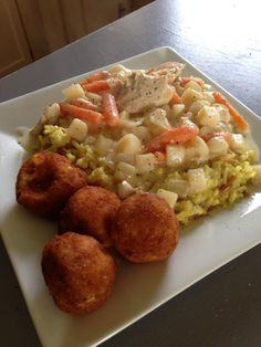 Chicken, diced potatoes, carrots, onions, 1 C water, 2 pkgs chicken gravy mix, 1 C sour cream. 4 hours high, 8 hours low. serve on rice, salt and pepper to taste