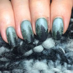 Misty mountains forest rainy winter nails nail art