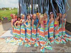 Mermaid tails with rubber banded beach towels