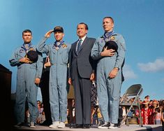 Fred Haise, Jim Lovell, President Nixon, and Jack Swigert: the Apollo 13 astronauts return home safe and sound!