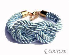 Light Blue Nautical Silk Rope Infinite Knot Bracelet Adjustable