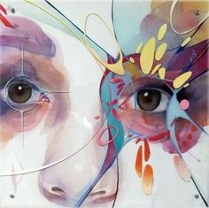 Crystal Clarity - Collaboration between Marion Bolognesi and Stephen Holding. Watercolour on paper and enamel on perspex