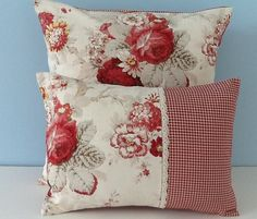 Waverly Norfolk Rose pillow cover. Shabby cottage chic pillow cover. French country decorator throw pillow. The 100% cotton cover front features cabbage roses in shades of reds and taupe leaves on an ivory background. The pillow cover back is sewn with coordinating Waverly Country Fair check, another high quality classic Waverly fabric. It is finished with an envelope enclosure for easy on and off and triple stitched for durability. All seams are zigzag over-stitched to inhibit fraying. This…