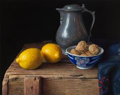 Lemons and pewter flagon - Herman Tulp