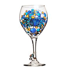 """Blue Crab Hand Painted Wine Glass  Shown in 16 oz. Wine Glass 7""""  8.5"""" also available in 18.5 oz. Wine Glass 9"""" Each glass is individually hand-painted making it an one of a kind work of art. Free Personalization (limited to 12 letters, numbers and spaces)   The blue crab's scientific name comes from the Greek words for """"beautiful"""" and """"swimmer."""" Male blue crabs are known as """"jimmies,"""" while mature females are called """"sooks."""" Blue crabs are one of the most important commercial and recreational Custom Wine Glasses, Painted Wine Glasses, Alcohol Bottle Decorations, Alcohol Bottles, Wine Rack Furniture, Window Pane Art, Home Wine Cellars, Animal Symbolism, Wine Glass Holder"""