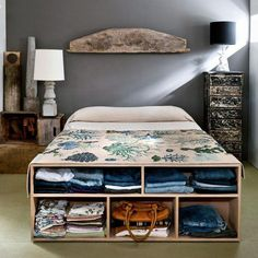 Creative Storage Ideas for Small Space Bedroom Creative Storage Ideas for Small Spaces Better Homes Gardens small bedroom storage ideas ch. Minimalist Home, Home Bedroom, Bedroom Storage, Bed Design, Storage Spaces, Bed Storage, Home Decor, Small Space Storage, Small Space Bedroom