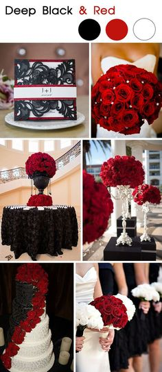 classic deep black and red glamourous wedding ideas