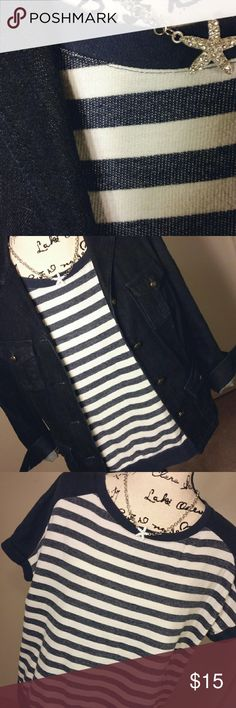JUST IN! NWOT! Dept 222 Cotn/ Poly Striped Blouse NWOT! This blouse is so Trendy , cute, and versitile. The plastic where the tag was on, is still there. Never worn. It's meant to have a semi distressed feel. The Designer made it that way. You'll see it on the tag. The back is a little longer then the front. The fabric has a really great feel to it. Because it's 79% Cotton and 21% Polyester. Makes it softer. Small slit on the bottom sides. Scoop neck. Petite Med. Flawless. Enjoy! Has Plastic…