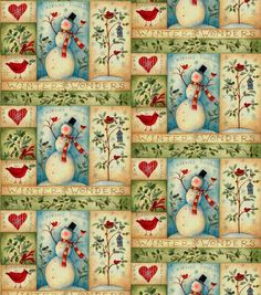 Susan Winget Snowman Stitches Quilt Fabric, Cotton Fabric by the Yard, F2035 #fabric #sewingsupply