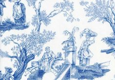 Alexander Henry Midnight Pastoral Toile Fabric Blue White- 3 1/2 yards
